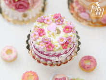 Load image into Gallery viewer, Pink Blossoms Cake, Pink Heart, Silk Ribbon Bow - Miniature Food