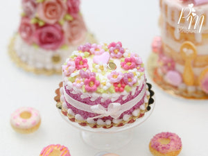 Pink Blossoms Cake, Pink Heart, Silk Ribbon Bow - Miniature Food