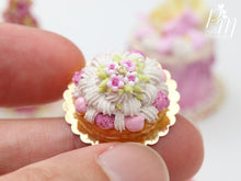 Load image into Gallery viewer, St Honoré Pastry with Pink Icing and Blossoms - 12th Scale Miniature Food