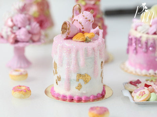 Pink Teatime Drip Cake with Pink Glittery Decoration Being Poured by Teapot - 12th Scale Miniature Food