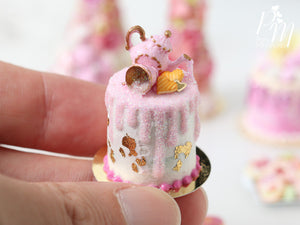 Pink Teatime Drip Cake with Pink Glittery Decoration Being Poured by Teapot - Miniature Food