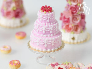 Three-tiered Pink Cake with Hand-Piped Icing with a Crown of Raspberries - Miniature Food