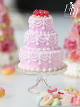 Load image into Gallery viewer, Three-tiered Pink Cake with Hand-Piped Icing with a Crown of Raspberries - Miniature Food