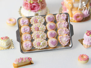 Light Pink-Themed Butter Cookies on Metal Baking Tray - Miniature Food