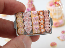 Load image into Gallery viewer, Pink-Themed Butter Cookies on Metal Baking Tray (Hearts, Gift Packets etc) - Miniature Food