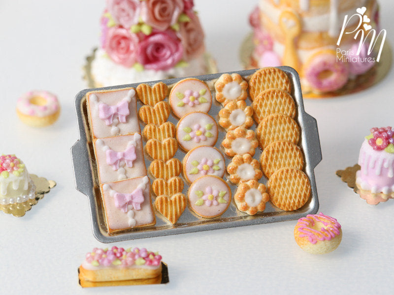 Pink Iced Butter Cookies and Plain Butter Cookies on Metal Baking Tray - 12th Scale Miniature Food