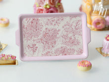 Load image into Gallery viewer, Toile de Jouy Pink Metal Tray - 12th Scale Miniature Food Accessory