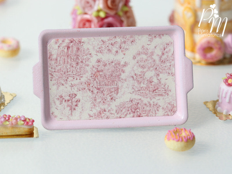 Toile de Jouy Pink Metal Tray - 12th Scale Miniature Food Accessory