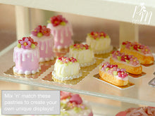 Load image into Gallery viewer, Heart-Shaped Vanilla Floral Cake - Individual Pastry - 12th Scale Miniature Food