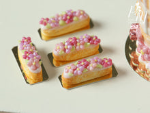 Load image into Gallery viewer, Pink Blossom French Eclair - 12th Scale Miniature Food