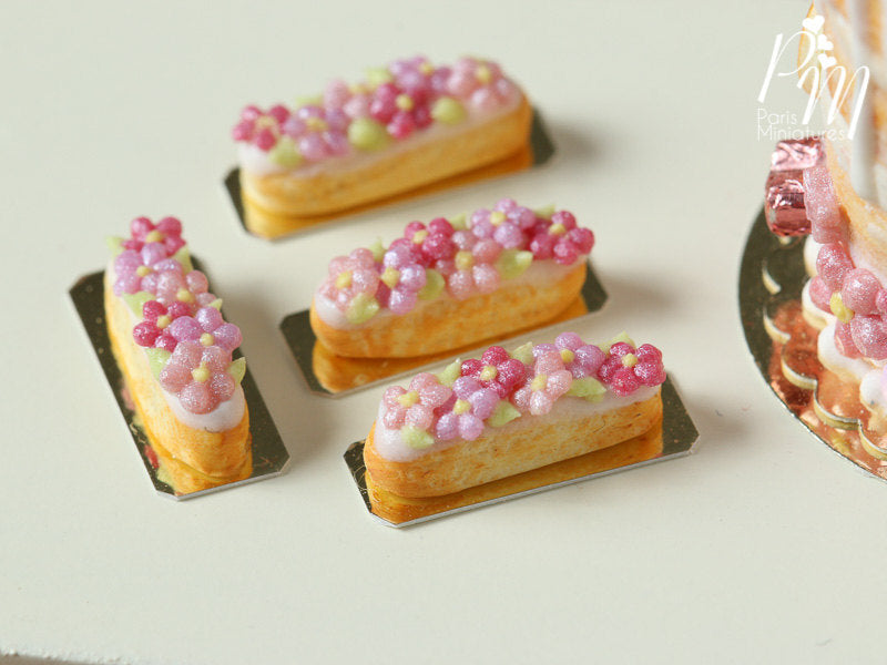 Pink Blossom French Eclair - 12th Scale Miniature Food