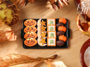 Miniature Food Halloween Cookies - Jack O'Lanterns, Moon/Star, Frog Cookies on Tray