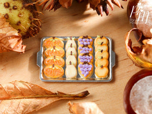 Miniature Autumn Fruit Cookies on Tray - Fall / Halloween - 12th Scale Miniature Food