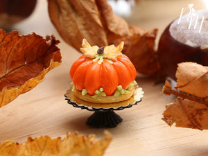 Miniature Food - Orange Pumpkin Cake, Biscuit Leaves - 12th Scale Miniature Food