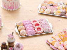 Load image into Gallery viewer, A miniature metal tray filled with handmade miniature food sweet treats including meringues in pink made from polymer clay
