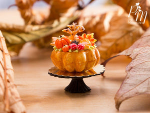 Autumn Cake Decorated with Autumn Tree, Pumpkins, Mushrooms - 12th Scale Miniature Food