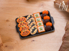 Load image into Gallery viewer, Miniature Halloween Cookies - Jack O'Lantern, Spiders, Frogs, Chocolate and Orange Pumpkins on Tray
