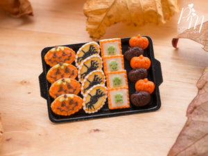 Miniature Food Halloween Cookies - Jack O'Lantern, Spiders, Frogs, Chocolate and Orange Pumpkins on Tray