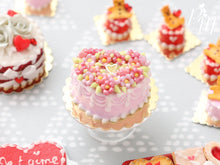 Load image into Gallery viewer, Pink Heart-Shaped Valentine's Cake Decorated with Pink Blossoms - Miniature Food