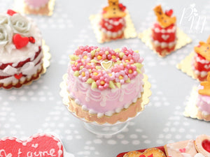 Pink Heart-Shaped Valentine's Cake Decorated with Pink Blossoms - Miniature Food