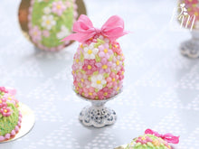 Load image into Gallery viewer, Spring Blossom Easter Egg (Pink Bow) on Shabby Chic Stand - Miniature Food in 12th Scale