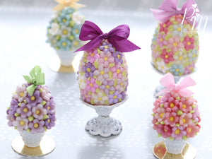 Spring Blossom Easter Egg (Purple Bow) on Shabby Chic Stand - Miniature Food in 12th Scale