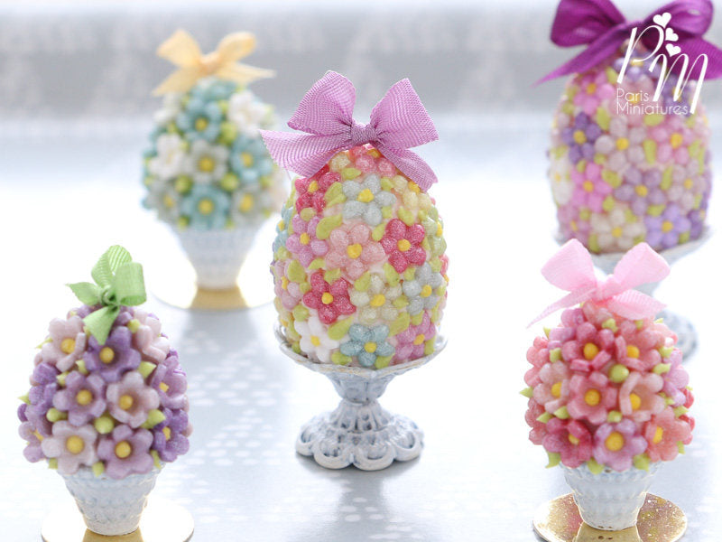 Spring Blossom Easter Egg (Lilac Bow) on Shabby Chic Stand - Miniature Food in 12th Scale