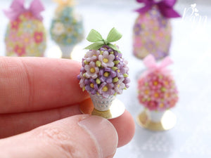 Spring Blossom Easter Egg in Shabby Chic Pot (Spring Green Bow) - Miniature Food
