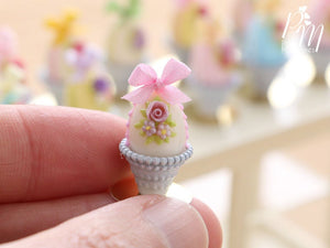 Pastel Candy Easter Egg Decorated with Single Rose in Shabby Chic Pot (J) Miniature Food