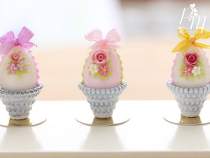 Pastel Candy Easter Egg Decorated with Single Rose in Shabby Chic Pot (B) Miniature Food