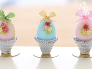 Pastel Candy Easter Egg Decorated with Single Rose in Shabby Chic Pot (K) Miniature Food