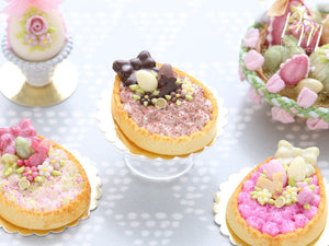 Chocolate Cream Tarte – Egg-Shaped decorated with Easter Eggs, Bunny, Blossoms - Miniature Food