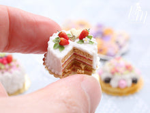 Load image into Gallery viewer, Strawberries and Cream Miniature Cake - Miniature Food for Dollhouse 12th scale