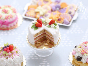 Strawberries and Cream Miniature Cake - Miniature Food for Dollhouse 12th scale