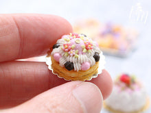 Load image into Gallery viewer, Pink Blossoms Spring St Honoré French Pastry - Miniature Food for Dollhouse 12th scale (1:12)