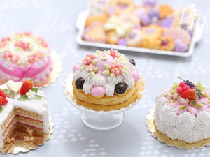 Pink Blossoms Spring St Honoré French Pastry - Miniature Food for Dollhouse 12th scale (1:12)