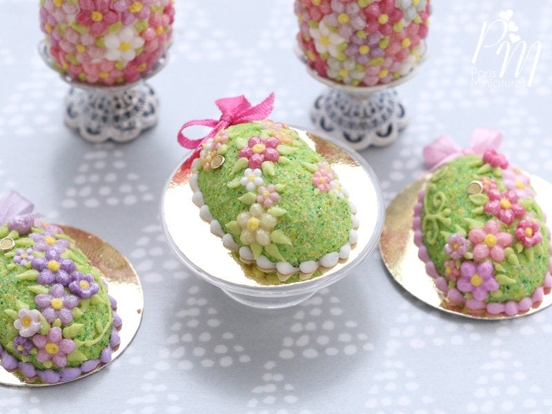 Easter Egg Cake with Spring Garden Blossom Decoration (A - Dark Pink) - Miniature Food