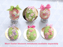 Load image into Gallery viewer, Spring Blossom Easter Egg (Green Bow) on Shabby Chic Stand - Miniature Food in 12th Scale
