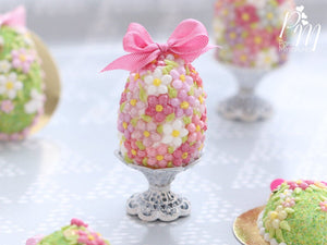 Spring Blossom Easter Egg (Pink Bow) on Shabby Chic Stand - Miniature Food in 12th Scale