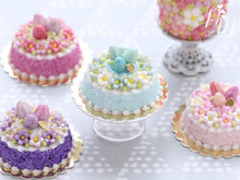 Load image into Gallery viewer, Spring Blossom Easter Egg Nest Cake (Turquoise) - Miniature Food in 12th Scale for Dollhouse