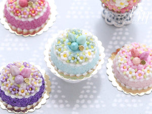 Spring Blossom Easter Egg Nest Cake (Turquoise) - Miniature Food in 12th Scale for Dollhouse