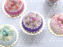 Load image into Gallery viewer, Spring Blossom Easter Egg Nest Cake (Purple) - Miniature Food in 12th Scale for Dollhouse