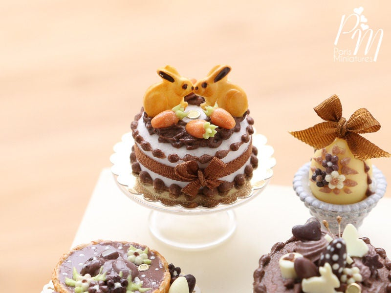 Chocolate Easter Cake Decorated with Bunny Cookies and Candy Egg 'Carrots' - Miniature Food