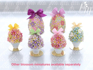 Spring Blossom Easter Egg in Shabby Chic Pot (Light Pink Bow) - Miniature Food