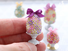 Load image into Gallery viewer, Spring Blossom Easter Egg (Purple Bow) on Shabby Chic Stand - Miniature Food in 12th Scale
