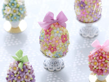Load image into Gallery viewer, Spring Blossom Easter Egg (Lilac Bow) on Shabby Chic Stand - Miniature Food in 12th Scale