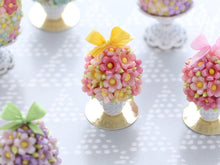 Load image into Gallery viewer, Spring Blossom Easter Egg in Shabby Chic Pot (Yellow Bow)