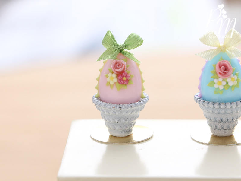 Pastel Candy Easter Egg Decorated with Single Rose in Shabby Chic Pot (F) Miniature Food