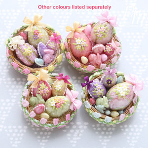 Beautiful Easter Basket Filled with Colourful Easter Eggs and Rabbit Candy (A) Miniature Food