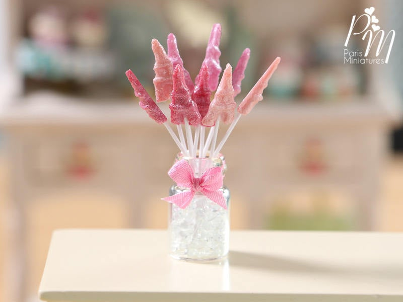 Eiffel Tower Lollipops with Glass Display Jar - Shades of Pink - Miniature Food